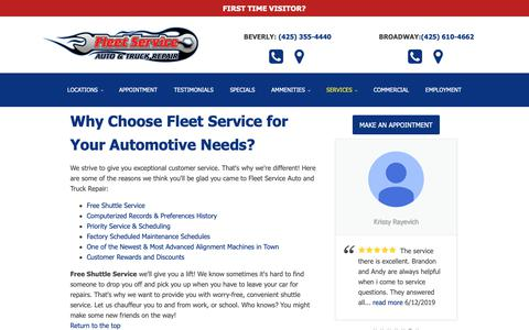 Screenshot of Services Page fleetserviceauto.com - Why Choose Fleet Service for Your Automotive Needs? - Fleet Service Auto & Truck - captured June 16, 2019