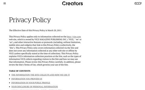 Screenshot of Privacy Page vice.com - Privacy Policy - Creators - captured March 3, 2018