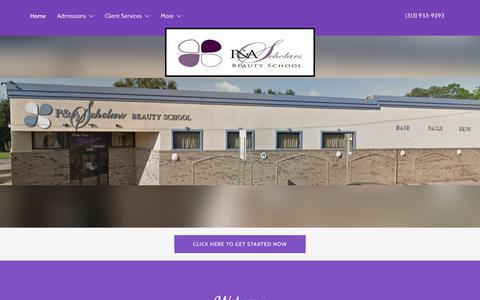 Screenshot of Home Page pandascholars.com - P&A Scholars Beauty School - captured Sept. 25, 2018