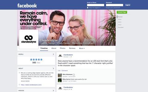 Screenshot of Facebook Page facebook.com - Clandesdyne - Kent, Ohio - Graphic Design, Video Games | Facebook - captured Oct. 22, 2014