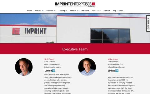 Screenshot of Team Page imprint-e.com - The Imprint Team - Imprint Enterprises - captured Nov. 19, 2016