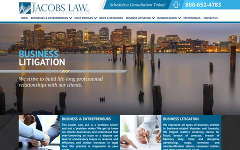 Screenshot of Home Page thejacobslaw.com - Boston Business Lawyers | Mass. Business Law Attorneys - captured Nov. 18, 2018