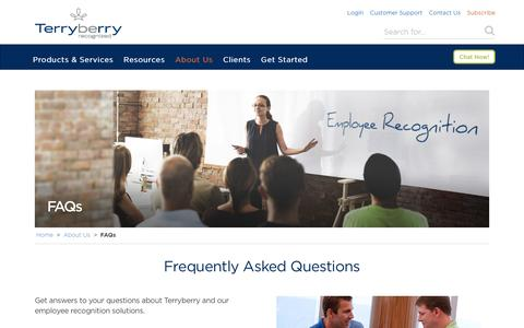Screenshot of Services Page terryberry.com - Employee Service Awards and Recognition FAQs - captured Nov. 14, 2016