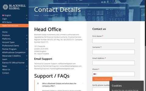 Screenshot of Contact Page FAQ Page blackwellglobal.com - Contact Details - Blackwell Global - captured Nov. 11, 2018
