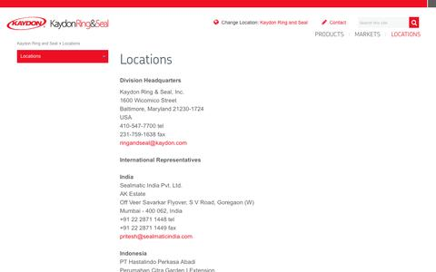 Screenshot of Contact Page Locations Page skf.com - Kaydon Ring and Seal customer service, RFQs - captured Jan. 25, 2017