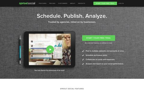 Screenshot of Home Page sproutsocial.com - Social Media Management Software   Sprout Social - captured Dec. 2, 2015