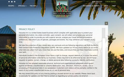 Screenshot of Privacy Page holualoainn.com - Privacy Policy - captured Oct. 2, 2018