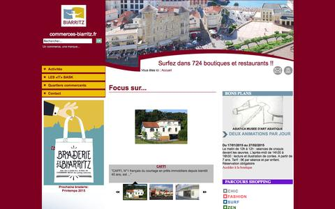 Screenshot of Home Page commerces-biarritz.fr - Commerces biarritz - PAYS BASQUE - captured Jan. 29, 2015