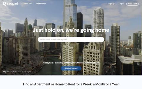 Screenshot of Home Page onradpad.com - RadPad: Find Apartments, Houses & Rooms for Rent - captured Feb. 25, 2016