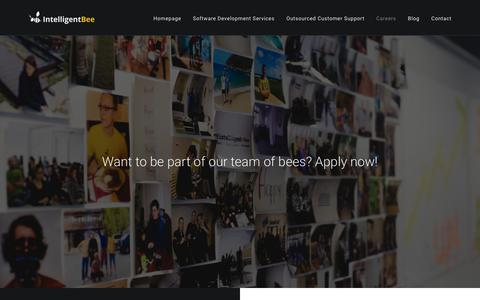 Screenshot of Jobs Page intelligentbee.com - IntelligentBee - Careers - Want to be part of our team of bees? Apply now! - captured Feb. 16, 2019
