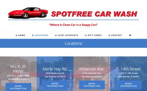 Screenshot of Locations Page spotfreecarwash.com - Locations - captured Sept. 21, 2018