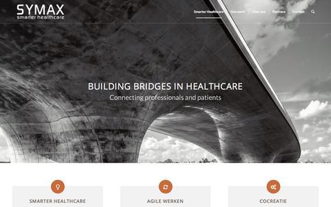 Screenshot of Home Page symax.nl - Smarter Healthcare - SYMAX - captured Sept. 21, 2018