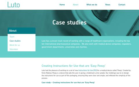 Screenshot of Case Studies Page luto.co.uk - Case studies | Luto - Health Communications & Testing - captured May 24, 2017