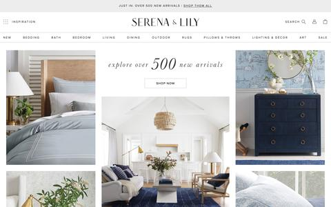 Screenshot of Home Page serenaandlily.com - Serena & Lily | A Fresh Approach to Bedding, Furniture, and Home - captured Aug. 8, 2019