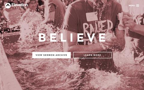 Screenshot of Home Page elevationchurch.org - Elevation Church - Get Involved, Watch Sermons, Online Church - captured July 20, 2015