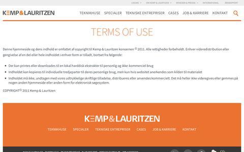 Screenshot of Terms Page kemp-lauritzen.dk - Terms of use   Kemp & Lauritzen - captured July 9, 2017