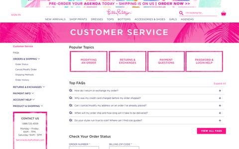 Screenshot of Support Page lillypulitzer.com - Customer Service | Lilly Pulitzer - captured June 10, 2016