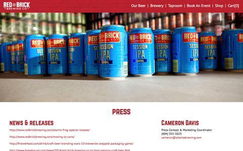 Screenshot of Press Page redbrickbrewing.com - Red Brick Brewing - captured Oct. 9, 2017