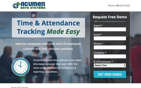 Screenshot of Landing Page acumendatasystems.com - Acumen Time Tracking Software - captured May 6, 2016