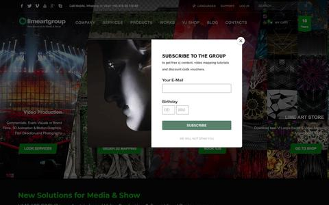 Screenshot of Home Page limeartgroup.com - LIME ART GROUP - Interactive Video Mapping & Event Visuals Production - captured May 11, 2018