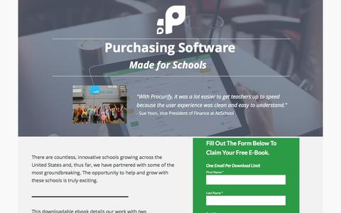 Screenshot of Landing Page procurify.com - Purchasing Software made for Schools - captured May 10, 2016