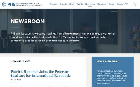 Screenshot of Press Page piie.com - Newsroom | PIIE - captured Aug. 22, 2016