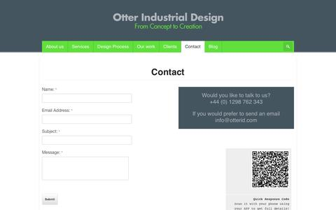 Screenshot of Contact Page otterid.com - Contact | Otter Industrial Design - captured Oct. 26, 2014