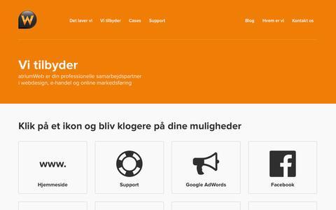 Screenshot of Services Page atriumweb.dk - Vi tilbyder produktion af følgende digitale løsninger - captured Oct. 4, 2014