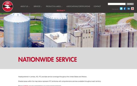 Screenshot of Locations Page indfumco.com - Nationwide Service | IFC – Industrial Fumigant Company LLC - captured Feb. 16, 2016