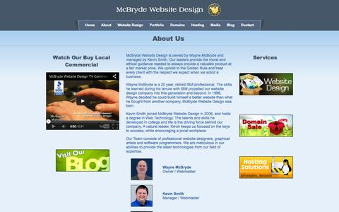 Screenshot of About Page mcbryde.com - Lake Norman, Mooresville and Cornelius Website Design and Hosting - captured Oct. 4, 2014