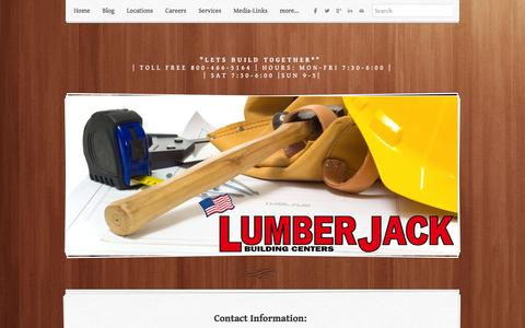 Screenshot of Contact Page lumber-jack.com - Welcome to contact us at LumberJack Building Centers - Lumber Jack Building Centers - captured Feb. 1, 2016