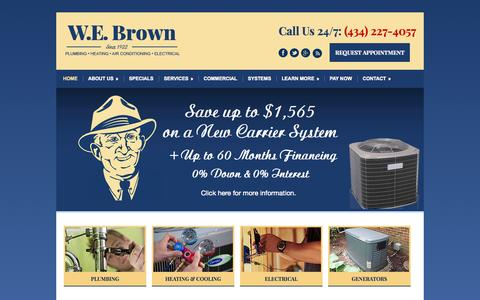 Screenshot of Home Page webrown.com - Charlottesville Air Conditioning, Plumbing and Electrical Contractor - captured Aug. 16, 2015