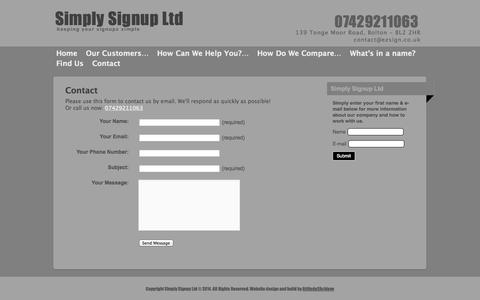 Screenshot of Contact Page ezsign.co.uk - contact - captured Oct. 26, 2014