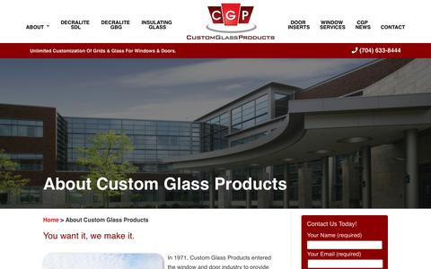 Screenshot of About Page cgpglass.com - About Custom Glass Products  | Custom Glass Products - captured Nov. 26, 2018