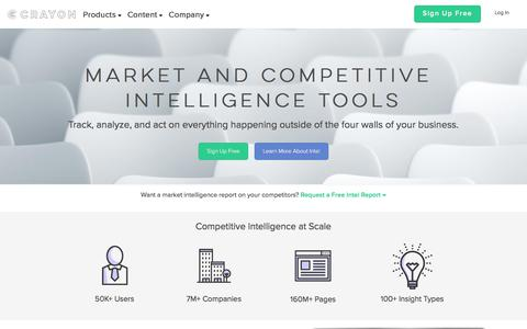 Screenshot of Home Page crayon.co - Crayon | Market & Competitive Intelligence Tools - captured Nov. 2, 2017