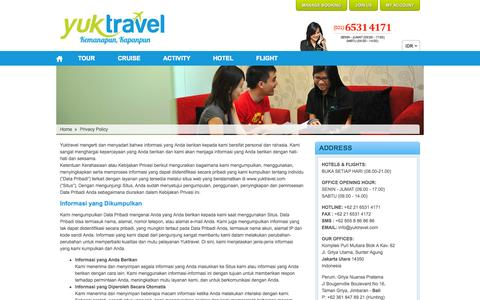 Screenshot of Privacy Page yuktravel.com - Privacy Policy Yuktravel | Yuktravel.com - Kemanapun, Kapanpun | Yuktravel.com - captured Sept. 23, 2014