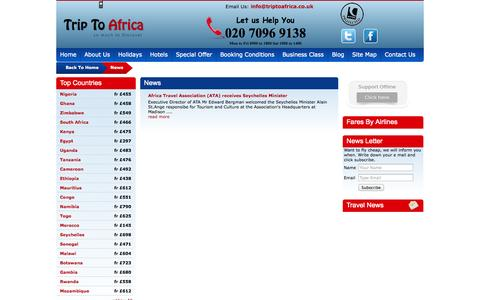 Screenshot of Press Page triptoafrica.co.uk - News - Trip To Africa - captured Oct. 8, 2014