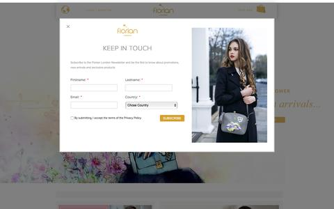 Screenshot of Home Page florianlondon.com - Florian London -  Official Store | Purses, Bags, Designer Bags, Bestselling Bags,  Luxury Bags, Colourful Bag - captured June 6, 2017