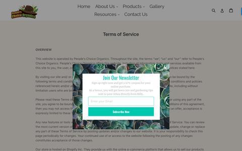 Screenshot of Terms Page peopleschoiceorganics.com - Terms of Service                      – People's Choice Organics - captured April 1, 2018