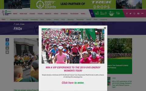 Screenshot of FAQ Page womenstour.co.uk - The OVO Energy Women's Tour | FAQs - captured Oct. 29, 2018