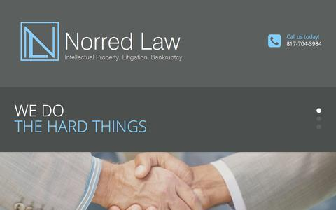 Screenshot of Home Page norredlaw.com - Arlington Patent Attorney | Southlake Business Lawyer | Bankruptcy | Trademark | IP - captured Sept. 4, 2015