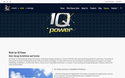 Screenshot of Jobs Page iqpowersolar.com - Careers - iQ Power Florida Solar Energy Residental Commercial - captured Nov. 21, 2017