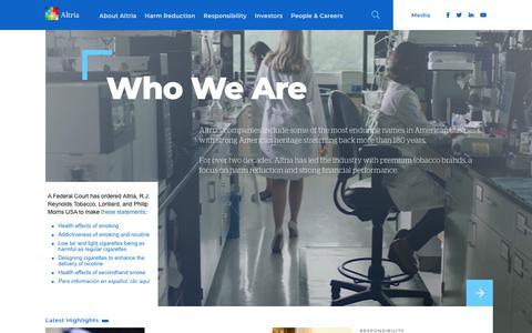 Screenshot of Home Page altria.com - The Official Altria Group Website - captured Feb. 10, 2020