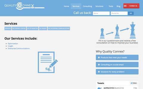 Screenshot of Services Page qualityconnex.com - Contact Centre Services   Quality Connex - captured Sept. 30, 2014