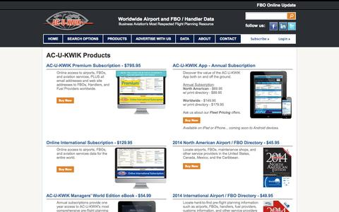Screenshot of Products Page acukwik.com - AC-U-KWIK Airport and Airport Service Data Products - captured Sept. 19, 2014