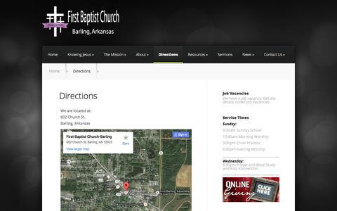 Screenshot of Maps & Directions Page fbcbarling.org - Directions | First Baptist Church of Barling, Arkansas - captured Feb. 10, 2016
