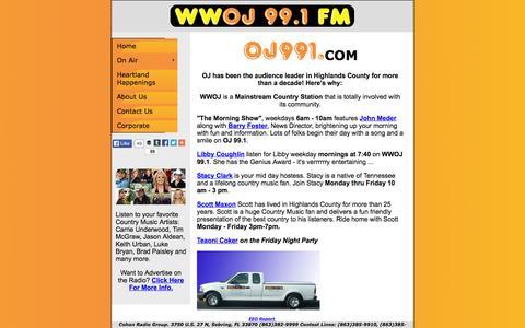 Screenshot of Home Page oj991.com - WWOJ 99.1 FM| Home - captured Oct. 13, 2015