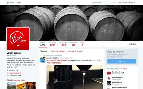 Screenshot of Twitter Page twitter.com - Virgin Wines (@VirginWines) | Twitter - captured Oct. 1, 2015