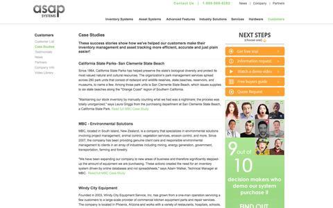 Screenshot of Case Studies Page asapsystems.com - ASAP Systems - Inventory Management Software   Inventory System   Asset Tracking System   Asset Tracking Software   Customer Spotlight - captured Sept. 24, 2014