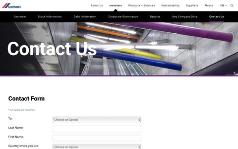 Screenshot of Contact Page cemex.com - Contact Us - CEMEX - captured March 24, 2017
